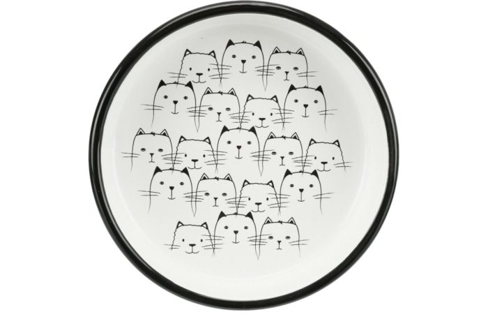 Cute Black & White Bowl For Short Nosed Cats